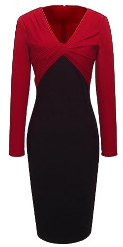 HOMEYEE Women's V-neck Colorblock Bodycon Dress B248