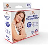 100 Breastmilk Storage Bags - 6oz / 180ml Pre-Sterilized & BPA-FREE Bags, Designed for Even and Faster Thawing with Leak Proof Mechanism by Bow-Tiger