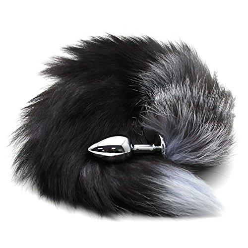 Bear boys Stainless Steel Anal Plug/Silver Fox's Tail Anal Plug /Dog's tail plug with Fox Fur (L)