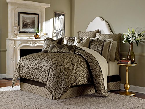 Michael Amini 9 Piece Imperial Comforter Set, Queen, Gold/Brown -