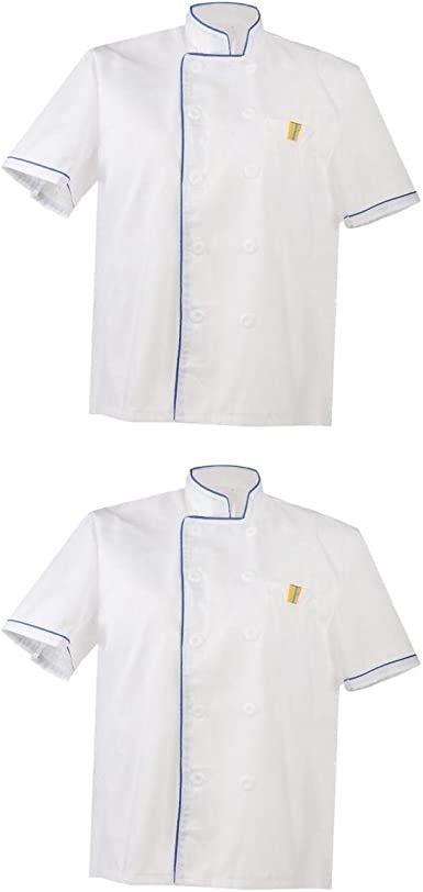 2x Chaqueta de Unisex Chef Blanco Uniforme Camisa Manga Corta ...