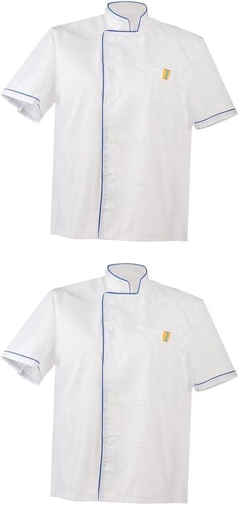 2x Chaqueta de Unisex Chef Blanco Uniforme Camisa Manga Corta Camareros Cocina Uniforme Color Sólido - Blanco, Única: Amazon.es: Ropa y accesorios
