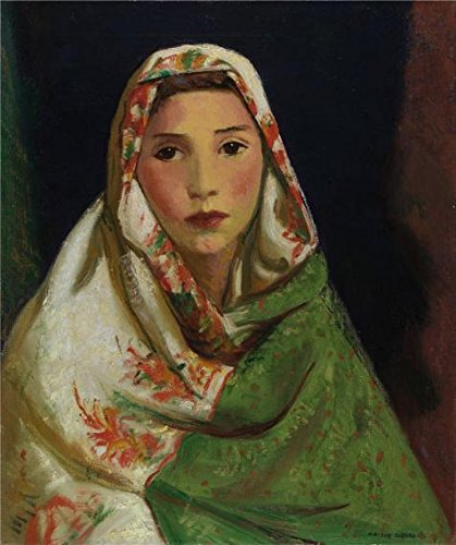 'Robert Henri,Mexican Girl With Oriental Scarf,ca.1916-1922' Oil Painting, 24x29 Inch / 61x73 Cm ,printed On High Quality Polyster Canvas ,this Imitations Art DecorativeCanvas Prints Is Perfectly Suitalbe For Dining Room Gallery Art And Home Artwork And Gifts - Opt Flush