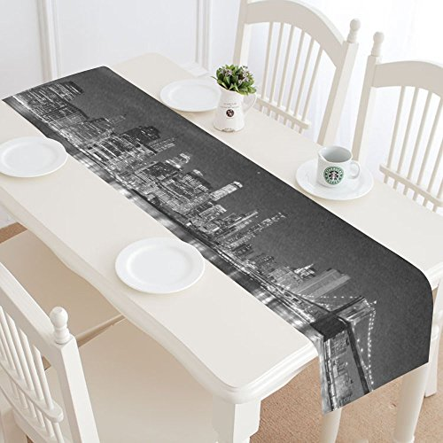 INTERESTPRINT New York Skyline Table Runner Home Decor 16 X 72 Inch, Mondern Cityscapes Table Cloth Runner for Wedding Party Banquet Decoration -