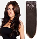 20'' Clip in Hair Extension Human Hair Extensions Clip on for Fine Hair Full Head Dark Brown #2 10pieces 140grams/4.9oz