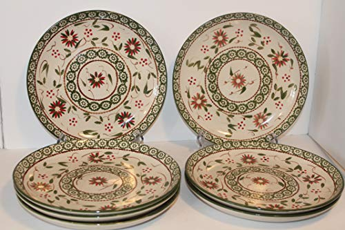 TEMPTATIONS Old World Green Coupe Dinner Plates SET/7 Presentable Ovenware