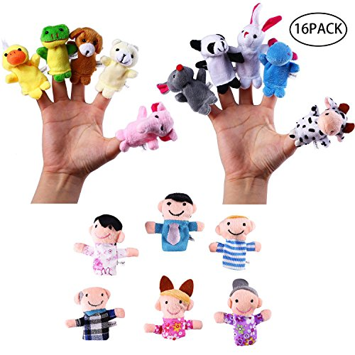 (Finger Puppets Set,Velvet Soft Plush Animal People Finger Puppets, Soft Little Cartoon Plush Doll Toys for Kids toddlers Story Time Pre-School Education for Teaching Bible Story time Pack of 16)