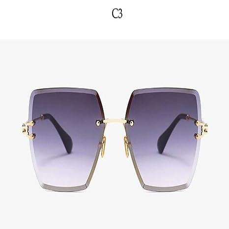Yangjing-hl Gafas de Sol sin Montura cuadradas de Cristal ...