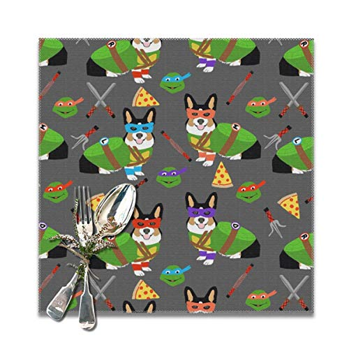 shirt home tri Corgi Ninja Turtle Dog Dogs Cartoon Costume Halloween Charcoal Placemats for Dining Table,Washable Placemat Set of 6, 12x12 inches -