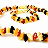 Baby : Baltic Amber Teething Necklace with Amber Bracelet for Babies (Unisex) Anti Flammatory, Drooling & Teething Pain Relief - Certified Genuine Baltic Amber Chip Bead by Lolly Llama - Multistone