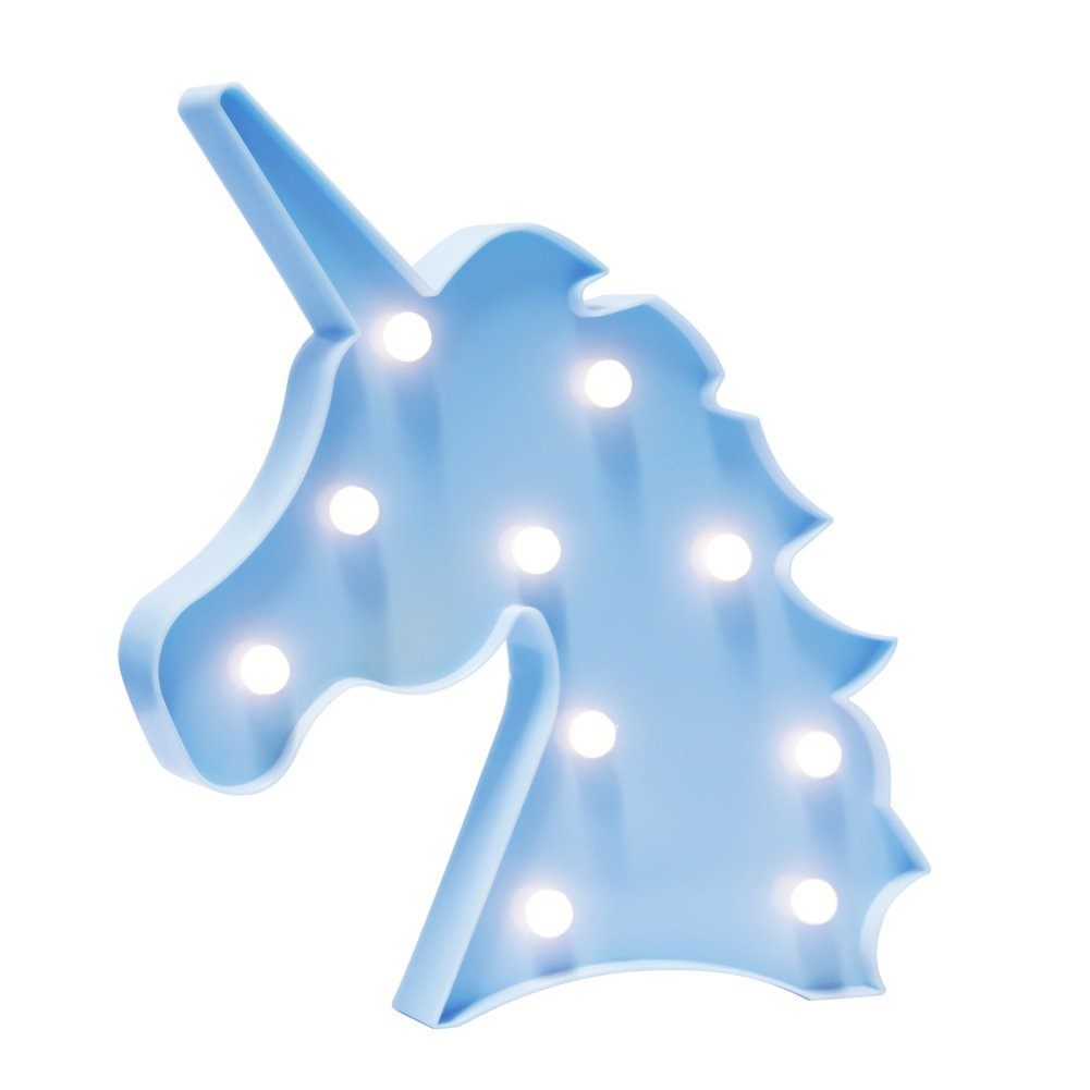WHATOOK Unicorn Gift Light Baby Unicorn Toys Lamp for kids Battery Operated Animal/Fruit Shape Marquee LED Lamps on Wall for Kids Children Gift Chrismas Party Wedding Room Décor(Unicorn head Blue)