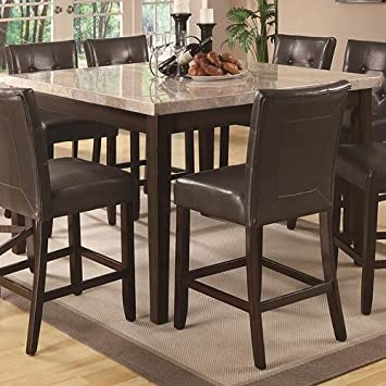 Coaster Home Furnishings Milton Modern Transitional Real Marble Top Counter Height Dining Table