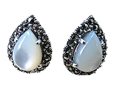 FaithOwl Mother of Pearl Marcasite Tear Drop Stud Earrings in 925 Sterling Silver (Marcasite Rings Size 11)