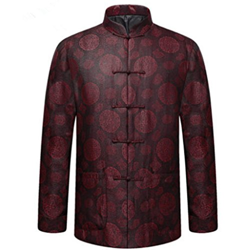 35% Mulberry Silk 65% Cotton Thinkened Coats High-end Tang Suit National Costume Individuality Retro Jackets Coats (Red) by BAOLUO-Tang Suit
