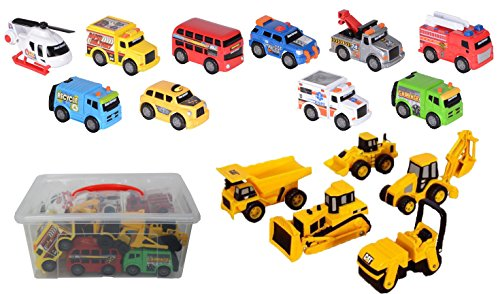 Set of 15 Vehicles City Emergency & Construction in a plastic Storage container