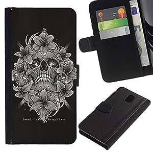 A-type (Cráneo Blanco Negro florales Muerte Huesos) Colorida Impresión Funda Cuero Monedero Caja Bolsa Cubierta Caja Piel Card Slots Para Samsung Galaxy Note 3 III