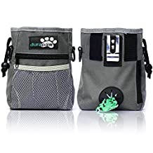 Dog Treat Bag & Training Pouch by DuraPaw™ - Built-in Poop Bag Dispenser - Flex Metal Clip, Belt or Shoulder Strap (Medium, Sage)