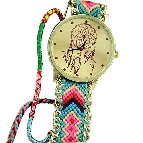 Braid Green Bracelet - Bolayu New Women Friendship Dreamcatcher Bracelet Braid Dress Watches (Green+Pink )