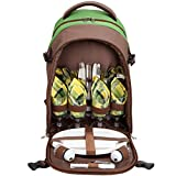 Yodo Picnic Backpack - 4 Person Cutlery Set and Blanket Holder - Insulated Food Compartment, Green/Brown