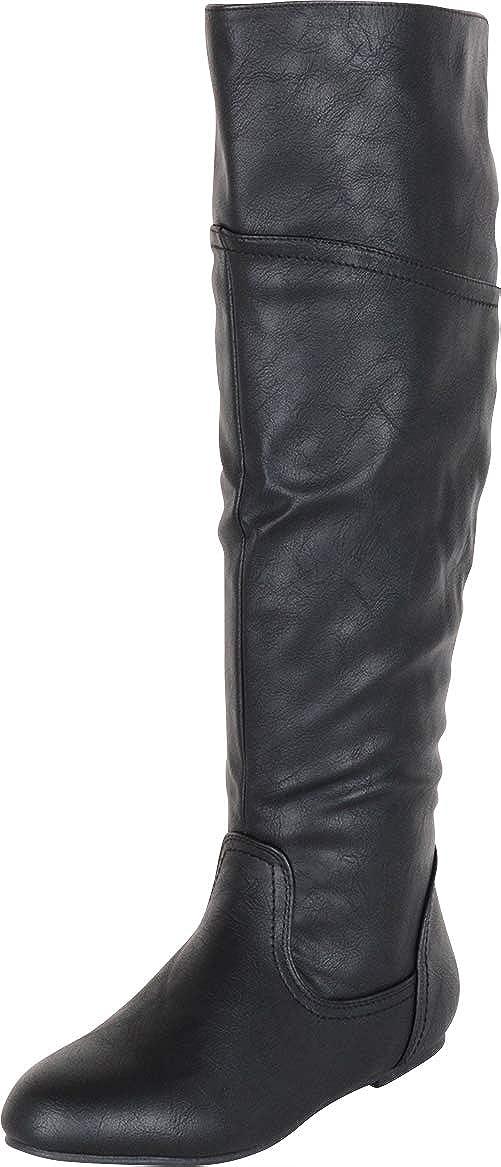 Black Pu Cambridge Select Women's Back Corset Lace Flat Knee-High Boot