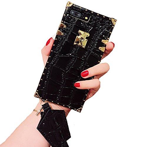 Compatible for iPhone 7 Plus/8 Plus Case, BabeMall Elegant Luxury Square Metal Decoration Corner PU Leather Crocodile Anti-Bumps Case & Lanyard (Black, for iPhone 7 Plus/iPhone 8 Plus)