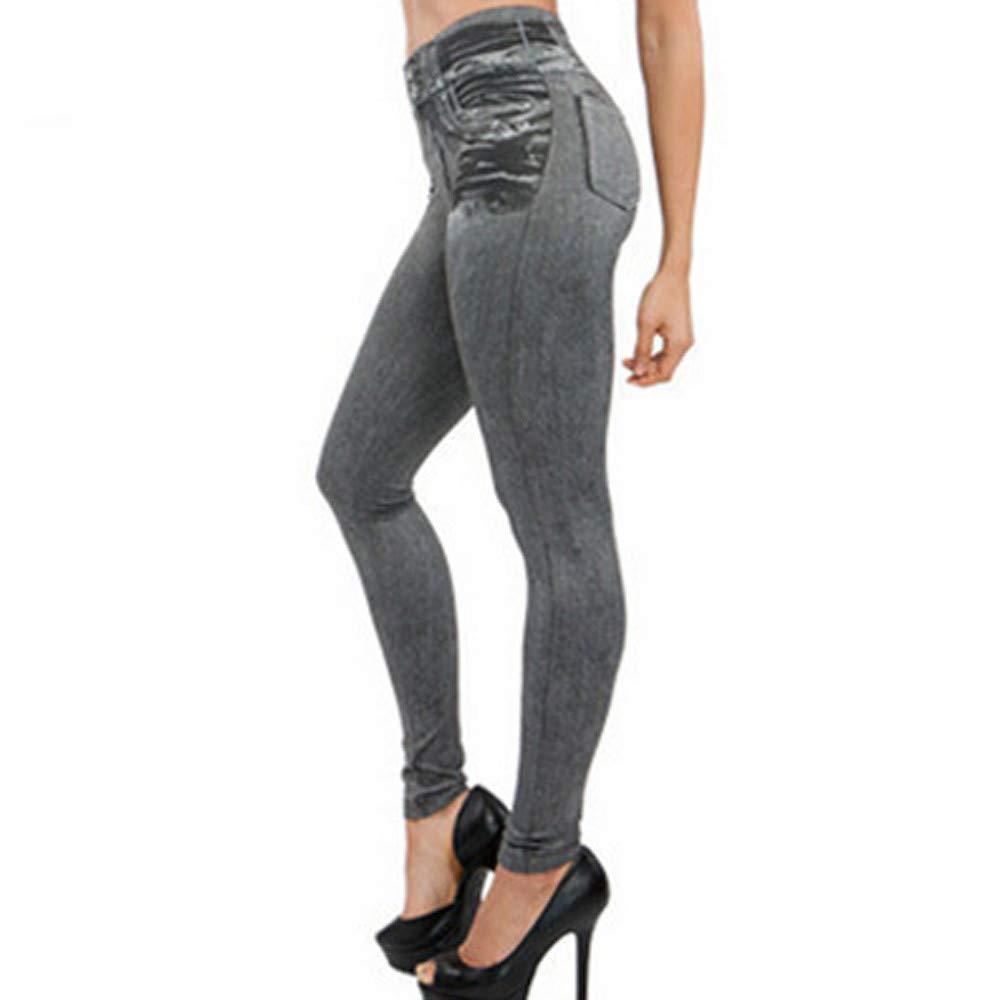 Baigoods Women Denim Pants Pocket Slim Leggings Fitness Plus Size Leggins Length Jeans
