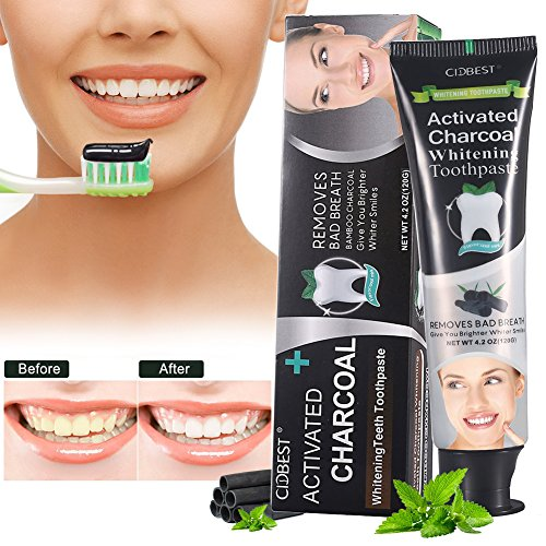 Charcoal Teeth Whitening Toothpaste,Natural Activated Bamboo Charcoal Toothpaste Fresh Mint Flavor removes bad breath -Teeth Whitening-Stain Remover Black,4.2Ounce (120g)
