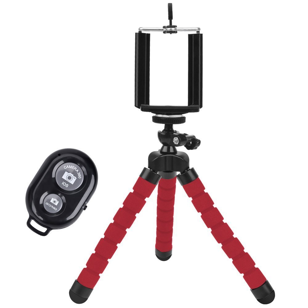 Universal Compact Tripod Stand - Remote Included - Flexible Octopus Cell Phone Camera Selfie Stick Tripod Mount for Smartphone / Digital Camera / GoPro Hero (Red)
