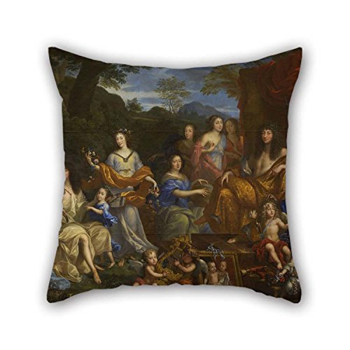 Artsdesigningshop 16 X 16 Inches / 40 by 40 cm Oil Painting Jean Nocret - Louis XIV Et La Famille Royale Pillow Covers Each Side Ornament and Gift to Adults Couch Wife Gril Friend Birthday Bedding