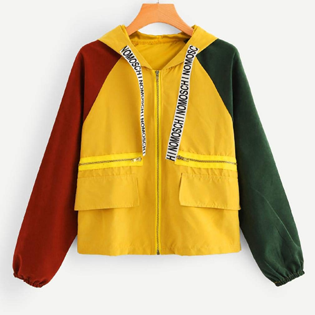 TOPUNDER Hooded Zipper Pockets Sport Coat for Women Long Sleeve Pocket Skinsuits