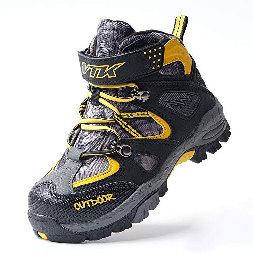 Image of Kid Hiking Boots Waterproof Thick Warm Snow Slip Resistance Sole Steel Buckle Sole Kid Outdoor Walking Shoes Climbing Sport Sneakers for Boys Girls (3.5 M US Big Kid, Black/Yellow)