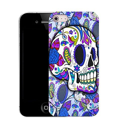 Mobile Case Mate IPhone 4 clip on Silicone Coque couverture case cover Pare-chocs + STYLET - BLUE HIPPIE SKULL pattern (SILICON)
