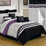 Lavish Home 66-00009-24pc-Q 24-Piece Room-in-a-Bag Rachel Bedroom Set, Queen