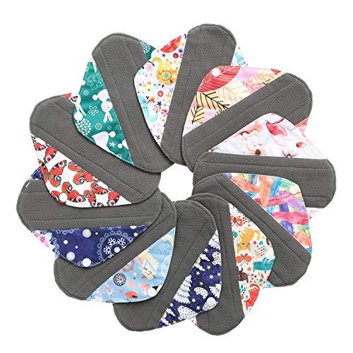 7pcs Set 1pc Mini Wet Bag +6pcs 8 Inch Bamboo Charcoal Cloth Menstrual Pads/Reusable Sanitary Pads/Mama Panty Liners