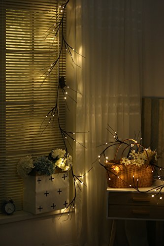 rland 30LED Warm White Light String Lights Flexible Branches with 6-Hour timer 6FT (Pine Twig)