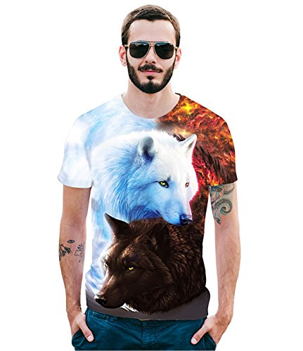 - Creative Personality Crown Double Wolves 3D T-Shirt for Men S