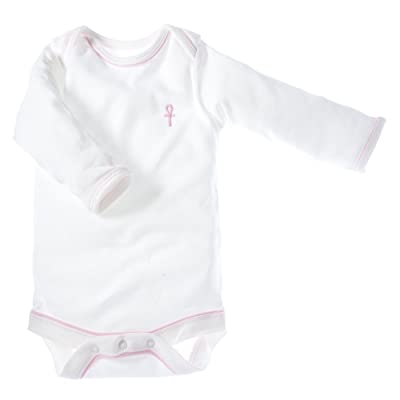 little pharo 100% Extra-Long Staple Egyptian Cotton Long-Sleeved Bodysuit (ivory with pink piping, size 18-24 months)