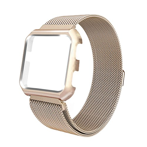 Frame Buckle (iTerk For Fitbit Versa Bands With Frame,Milanese Mesh Loop Stainless Steel Metal Replacement Wristband Bracelet Strap Magnetic Buckle Protective Case Bumper)