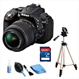 Bundle of Nikon 24.2MP Full HD SLRs Camera (18-55mm Lens) Built-in Wi-Fi and GPS- Black (Model: D5300) with Tripod, SD Card 8GB, Cleaning Kit