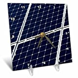 3dRose Alexis Photography - Objects - Dark blue solar power panel, white frame, diagonal view - 6x6 Desk Clock (dc_271346_1)