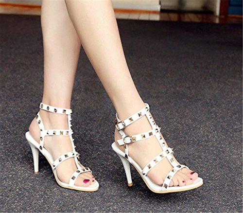 Sandals High Fine 35 High with Shoes Women Banquet Heel yu Lh Fashion Buckle Rivet White Sandals Quality Party ZxFX0qqw