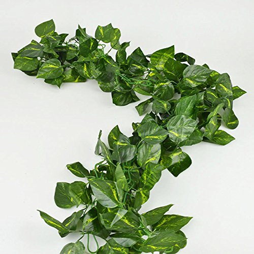 RURALITY 16 Ft - 2 Artificial Ivy Silk Greenery Fake Hanging Vines Wedding Garland ,Epipremnum Aureum, Pack of 2