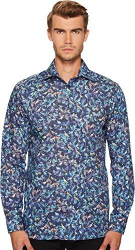 Eton  Men's Contemporary Fit Bird Print Shirt Navy Shirt