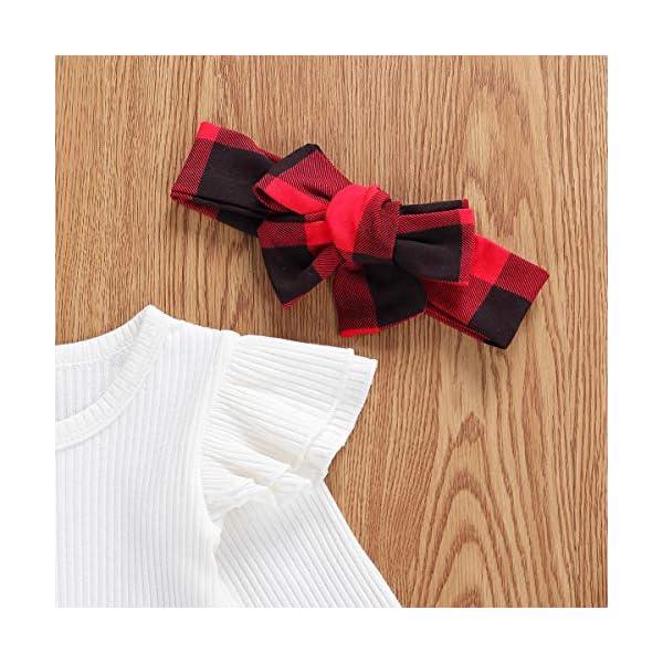 Geagodelia 3 Pezzi Completo Neonata Pagliaccetto Bianco a Maniche Lunghe +Pantaloncini a Quadri +Fascia per Capelli… 3