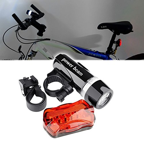 New Insten 5 LED Lamp Bike Bicycle Front Head Light + Rear Safety Flashlight -  Halogen Bulbs