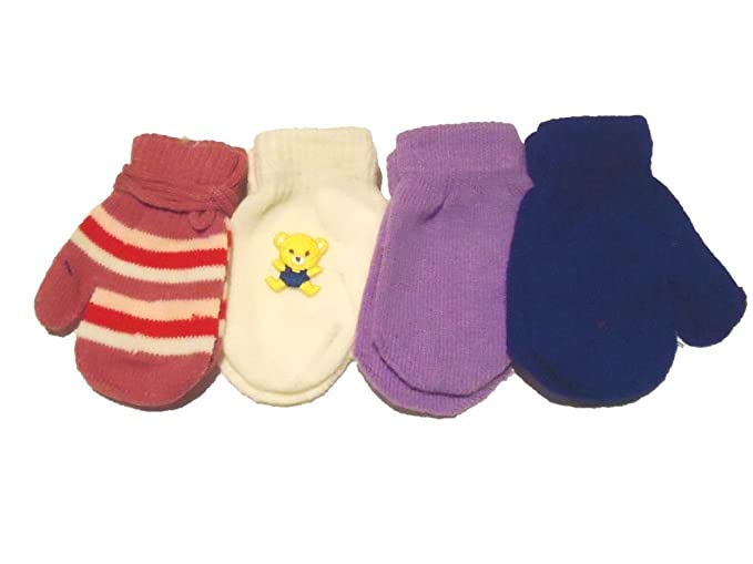 Baby Set of Four Pairs of Magic Stress Mittens for Infants Ages 0-6 Months.