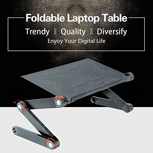 FCD Portable Foldable Adjustable Ergonomic Laptop Table Desk Bed Tray Cooling Pad - Sliding Laptop Tray