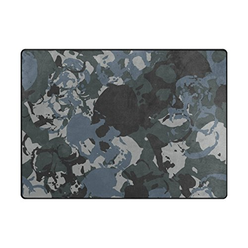 INGBAGS Super Soft Modern Skulls Navy Camouflage Area Rugs Living Room Carpet Bedroom Rug for Ch ...