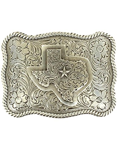 Rel Rope - M&F Western Products 37528 Mens Rectangle Rope Edge Texas Buckle - Antique Silver