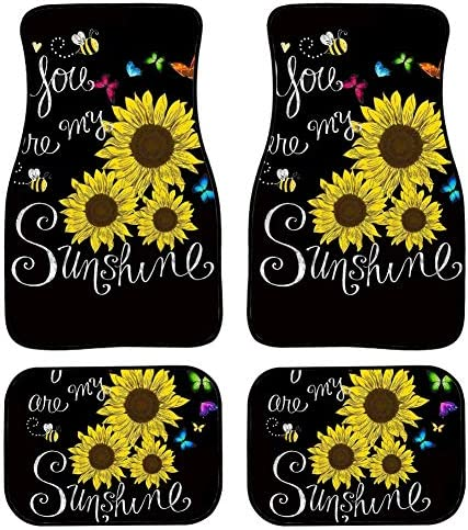 WELLFLYHOM Bee Butterfly Sunflower Car Floor Mats Carpet Set of 4 for Women Girls Cute Floral, Easy to Clean Waterproof Universal Fit SUV Sedan Truck Auto Decorative Protectos Accessories, Black